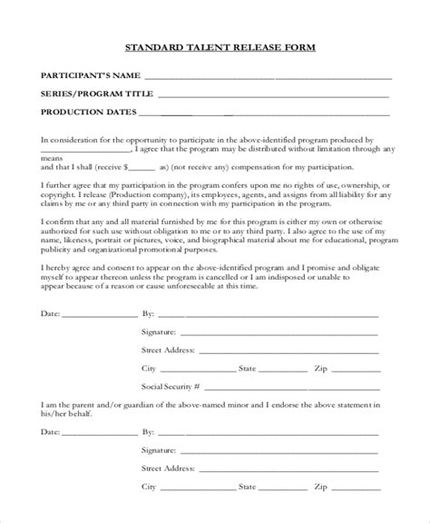 sample talent release forms  ms word