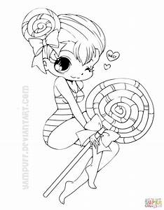 Chibi Lollipop Girl Coloring Page Free Printable