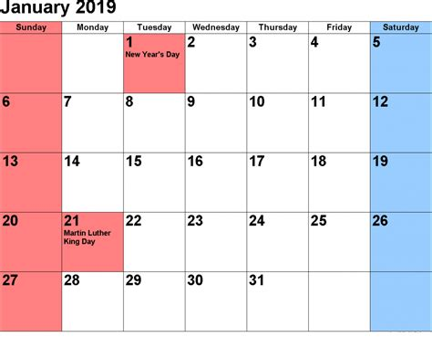 Get January 2019 Calendar With Holidays