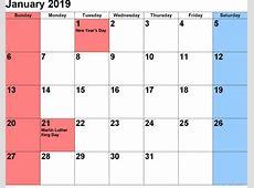 Get January 2019 Calendar with Holidays Free Printable