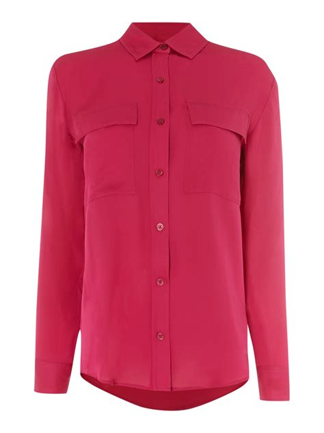 pink blouses michael kors sleeve patch pocket silk blouse in pink