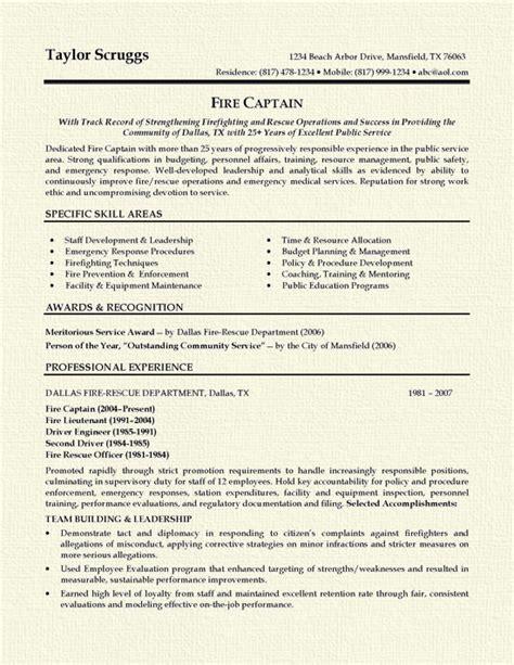 fireman resume