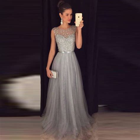 Aliexpress.com  Buy Gray Long Prom Dresses Beaded Tulle Sequin A line Long 2017 Formal Party ...