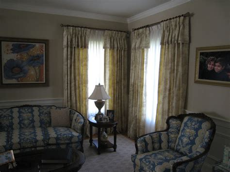 pinch pleated drapes  attached valance traditional