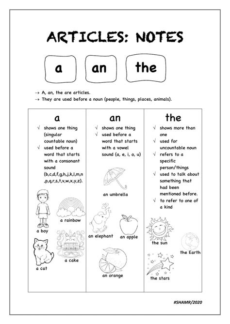 Articles interactive worksheet for Grade 4