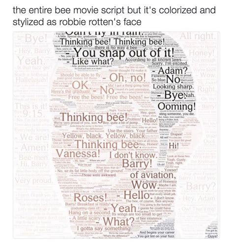 Meme Script - the entire bee movie script but it s colorized and stylized as robbie rotten s face memes