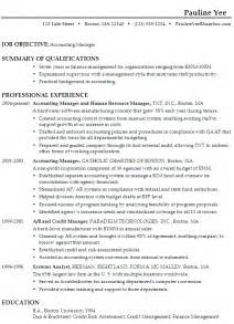 summary of skills for accounting resume sle resume for an accounting manager susan ireland resumes