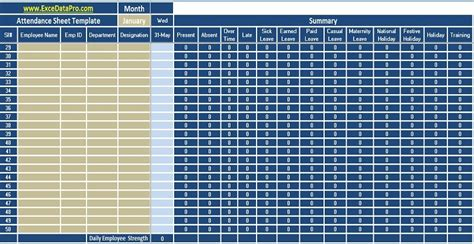 employee attendance sheet excel template exceldatapro