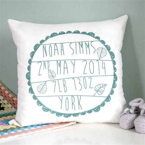 Personalised Baby's Birth Cushion By Modo Creative
