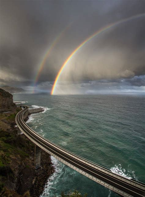 Rainbows Off The Sea Cliff Bridge Wollongong New South