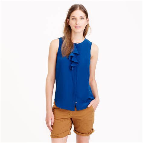 jcrew blouses j crew silk ruffle blouse in blue lyst