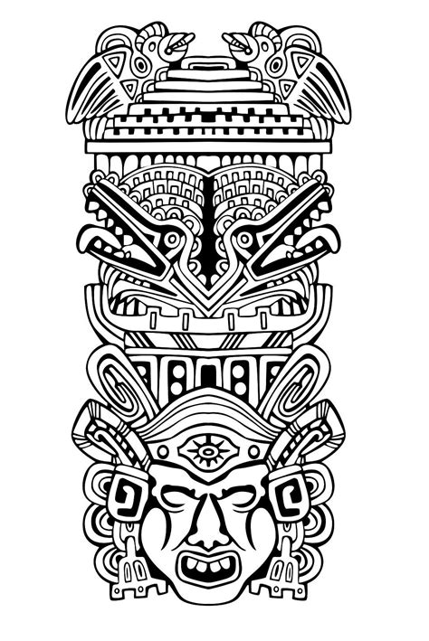 Free coloring page coloring-adult-totem-inspiration-inca