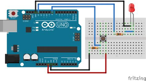 push button switch arduino uno interfacing tutorial