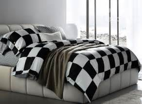 fashion black and white checkered squares cotton bedding