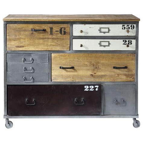 cabinet lazare commode 224 roulettes en m 233 tal l 120 cm lazare maisons du monde