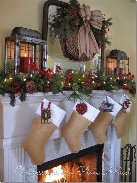 beautiful farmhouse christmas mantel seasonal decor