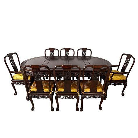 Chinese coffee table lacquered wood golden dragon phoenix. Vintage Chinese Carved Rosewood Dragon Dining Table with 8 ...