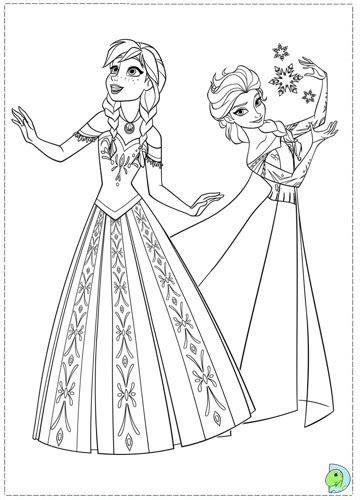 princess anna  princess elsa  frozen coloring page