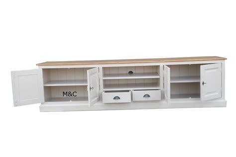 meuble tv bois massif blanc mzaol