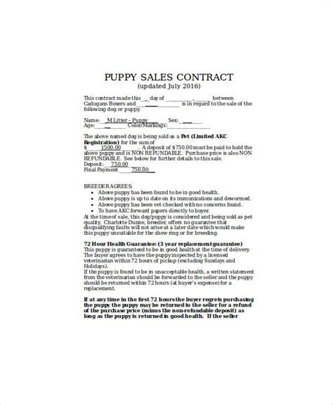 puppy sale contract 9 sle puppy sales contracts sle templates