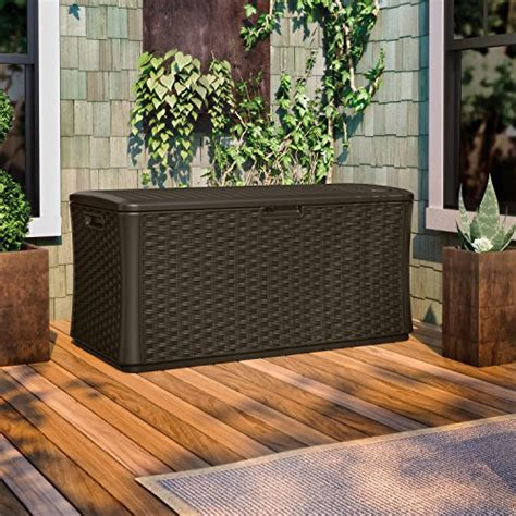 suncast 134 gallon resin deck box suncast bmdb134004 wicker resin deck box 134 gallon