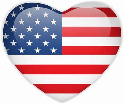 Flag Heart American Vector Clip Illustrations Button