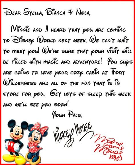 disney letter template we heard you re coming to disney world a letter from mickey minne disney