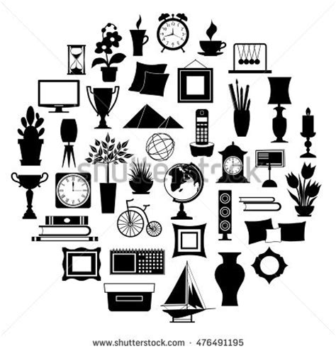 Silhouette Home Decor Set Accessories Icons Stock Vector