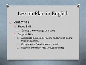 Example Of Lesson Plan In English