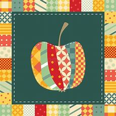 Patchwork Pattern Applique Of Cute Colorful Apple Stock Vector  Image 87753939