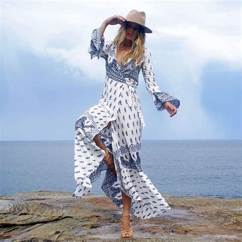jessie vinson bohemian style boho print split maxi dress