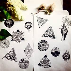 Geometric Flower Tattoo Drawings