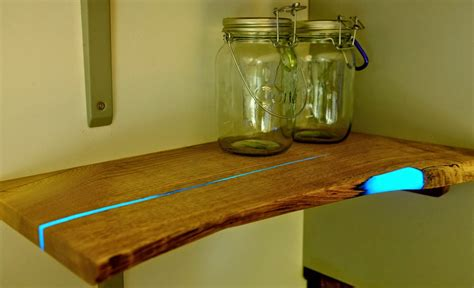 diy glowing inlaid resin shelves  mat brown colossal