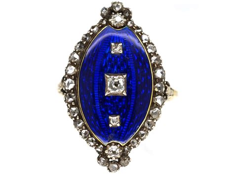 georgian royal blue enamel diamond navette shaped ring