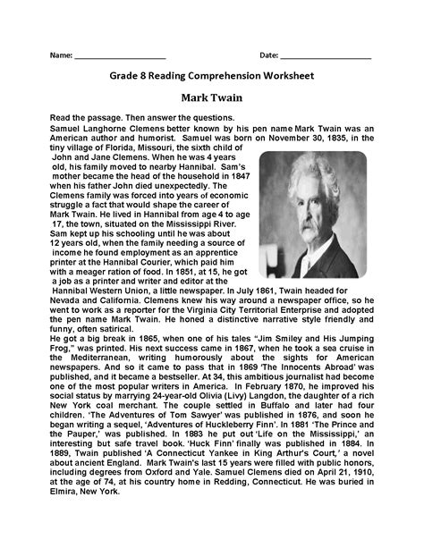 8th grade reading comprehension worksheets newatvs info