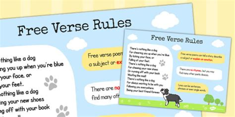 recognize some different forms of poetry free verse rules