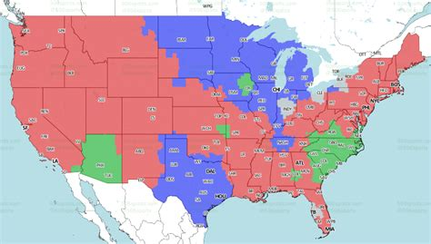 nfl tv schedule  broadcast map week