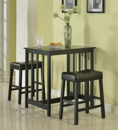 Counter Height Dining Breakfast Set Bar Black Wood Table