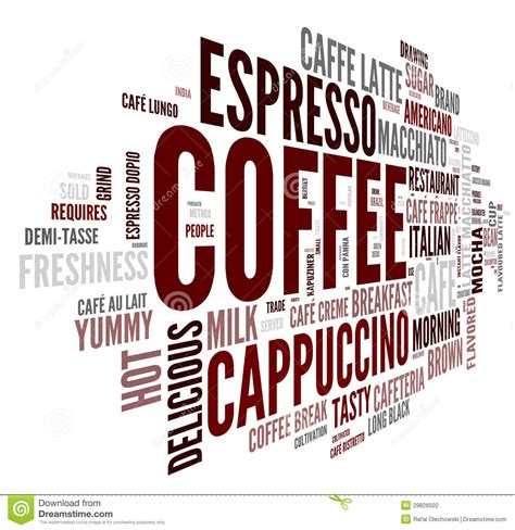 Coffee Concept In Word Tag Cloud Stock Photography   Image: 29826502