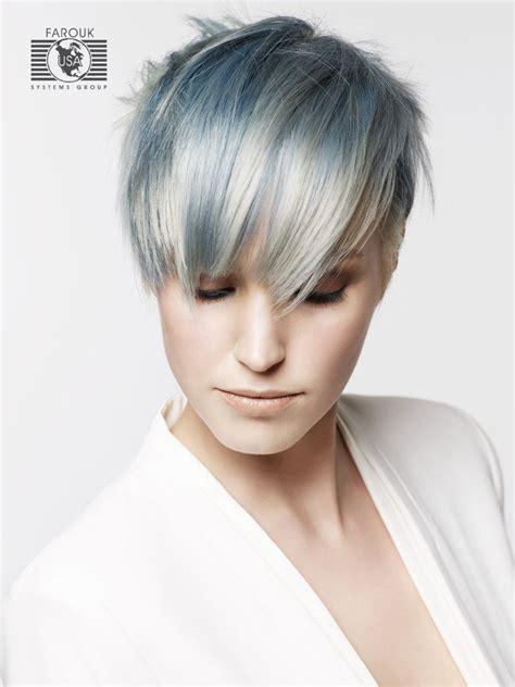 trendy short haircut  silver  blue metallic hair colors