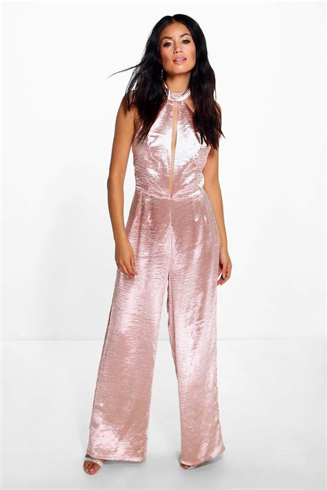 ebay jumpsuit boohoo womens emily satin split front wide leg jumpsuit ebay