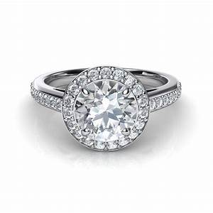Round halo pave diamond engagement ring for Halo engagement rings with wedding bands
