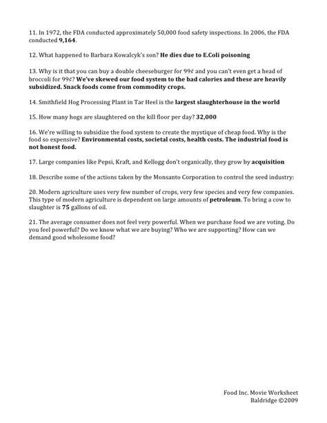 Food Inc Worksheet Answers Breadandhearth