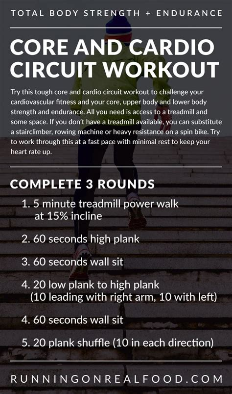 cardio circuit workout core strength endurance cardiovascular workouts fitness body minute emom exercises upper total exercise runningonrealfood training lower routine