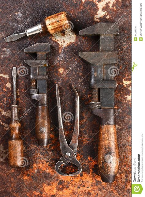 tools hand rusty antique metal angle screw pipe surface pliers wrench include drivers knife