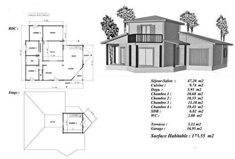 plan maison bois mod 233 le douglas 233 tage sur l entr 233 e avec balcon