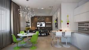 salle a manger design dans un petit appartement de ville With salon salle a manger contemporain pour petite cuisine Équipée