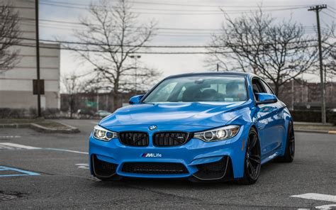 Lowered Bmw M4 In Yas Marina Blue Color  Front View