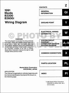 1991 Mazda B2600i B2200 Pickup Truck Wiring Diagram Manual Original