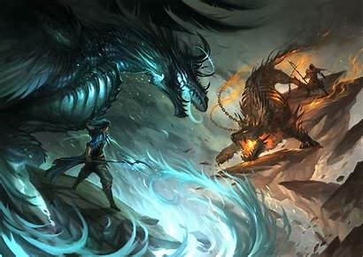 Beast Wallpapers Dragon Epic Fight Mage Warrior